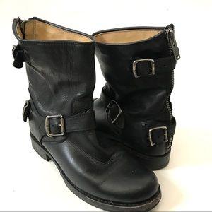 Frye Veronica Short Boots Back Zip Buckles Black 8
